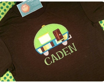 Boys Camper Shirt with Green and Brown Camper and Embroidered Name