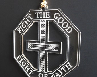 Fight the Good fight Of Faith Car Rear view Mirror Ornament, Christian Faith Car Charm