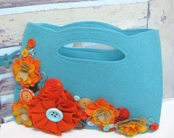 Teal Felt Purse embellished with flowers and buttons