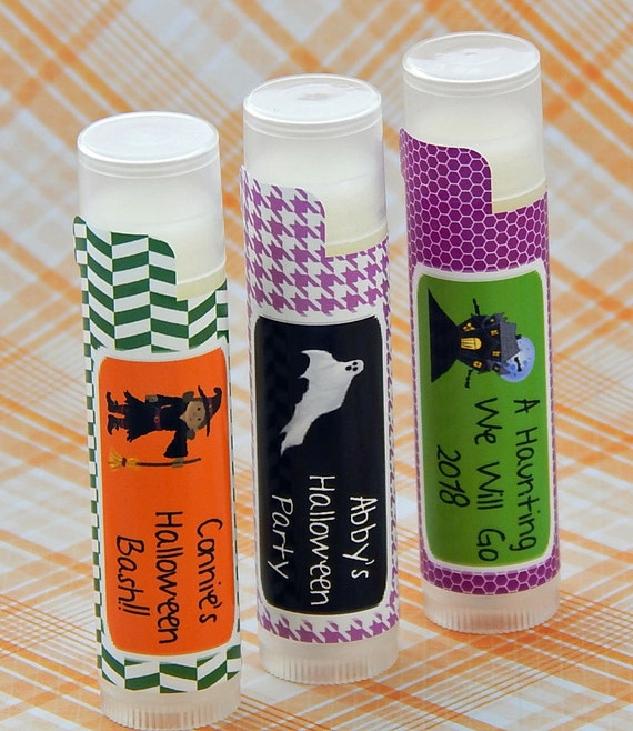 Kids Halloween Custom Lip Balm Favor - Peppermint - Personalized Halloween Party Favors - Halloween Birthday Favor