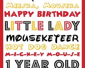 Mickey Mouse Birthday Sign - Digital Files