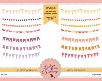 14 Clipart Pennants and Garlands · Digital Scrapbook · Clip Art · Bunting · Flags · Garland · Personal & Commercial Use · Instant Download