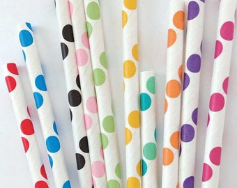 25 Paper Straws, Polka Dot Straws, Kids Party Straws, Birthday Party Paper Straws, Polka Dot Decor, Polka Dot Party, Fun Party, Circus Party