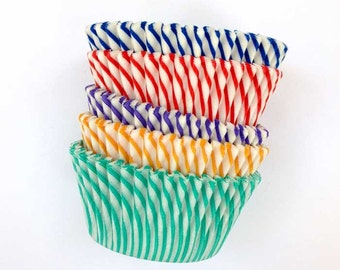 Circus Stripe Cupcake Liners (50), Pisa Baking Cups, Rainbow Assortment