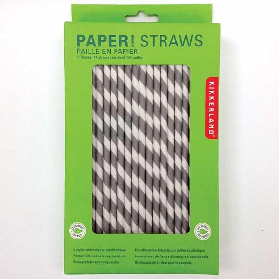 Kikkerland Striped Paper Straws Stripe Kikkerland Straws