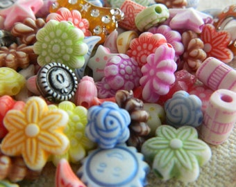 Colorful Acrylic Bead Mix - Bright Colored Acrylic Beads - Mixed Shapes & Sizes Beads - 1 oz. Bead Mix