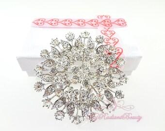 Wedding Brooch, Rhinestone Brooch, Brooch Pin, Circular Floral Bridal Brooch, Wedding Jewelry, Rhinestone Accessory, Bridal brooch BR0021