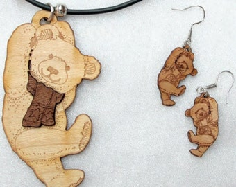 Multi Layered Ply Wood Jewelry Set With Backing