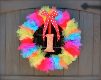 Rainbow Wreath, Rainbow Tutu Wreath, Rainbow Party, Rainbow Party Decor, First Birthday Party