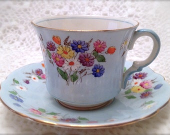 Foley Hand Painted Tea Cup & Saucer