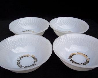 Vintage Milk Glass Federal Bowls Set of Four     S286