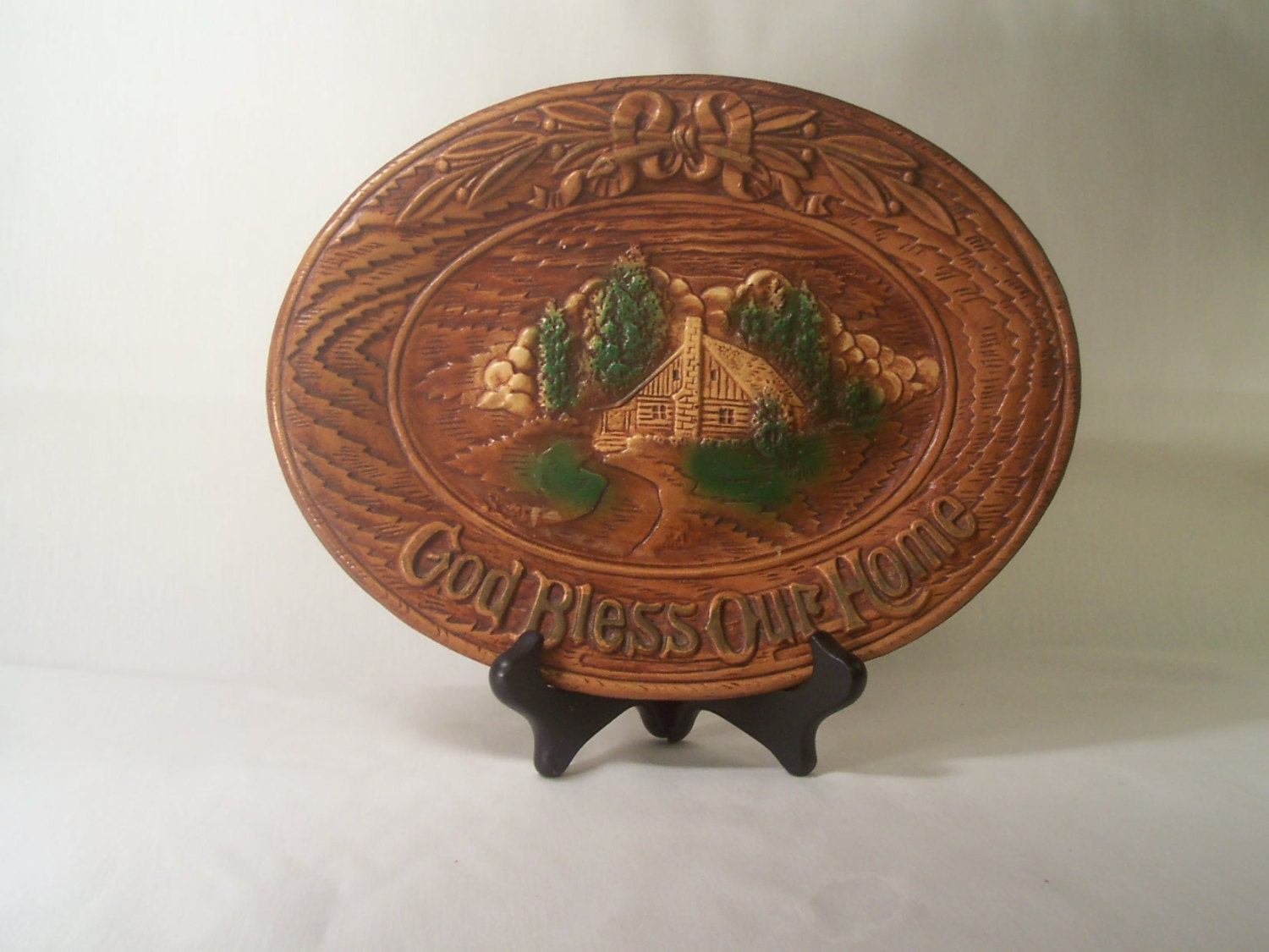 Vintage Wall Plaque God Bless Our Home S167