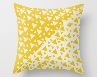 Yellow Triangles Pillow with Insert