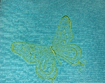 Light blue hand towel with green butterfly