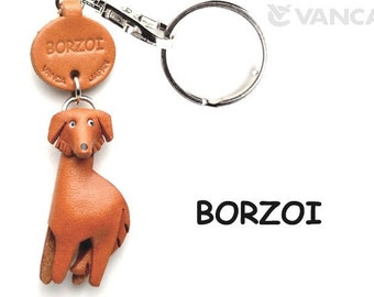 Borzoi 3D Leather Dog Keychain Keyring Purse Charm Zipper pull Accessory *VANCA* Made in Japan #56709 Free Shipping