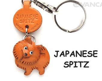 Japanese Spitz 3D Leather Dog Keychain Keyring Purse Charm Zipper pull Accessory *VANCA* Made in Japan #56738 Free Shipping
