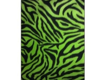 Zebra Black and Lime  Fleece Fabric By The Yard
