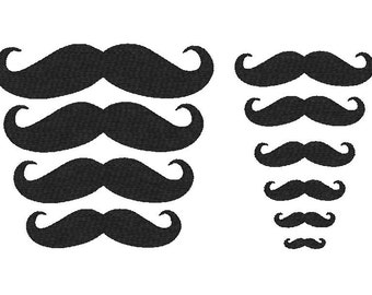 Machine Embroidery Design, mustache collection, 10 sizes