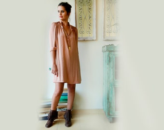 Peach Pink Knee Length Dress / Midi Dress / Over Size Dress / Tie Belt Dress / Casual Dress / Women Clothing / Party Dress / Cotton Dress