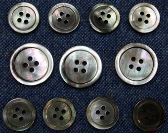 Smoke Mother of Pearl Buttons Set for suit jacket, blazer, or sport coat. High quality!