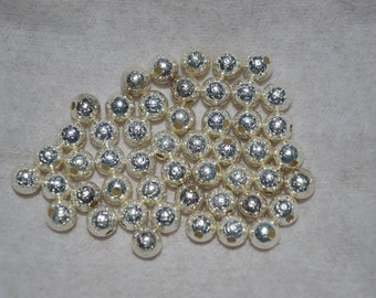 50 - 4 1/2mm Silver Plated Stardust Beads (3020032)