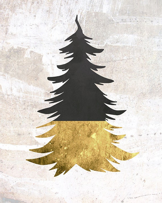 Black and gold contemporary christmas tree by for Modern gold christmas tree