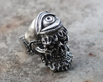 925 Sterling Silver Eyes Skull Ring,skull jewelry,Biker,heavy metal,dark,Punk,Mens Ring,Goth,Rocker,halloween,gothic jewelry,gift for him