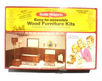 Vintage Realife Miniatures Wood Furniture Kits/ Heritage Series Bathroom Kit 197