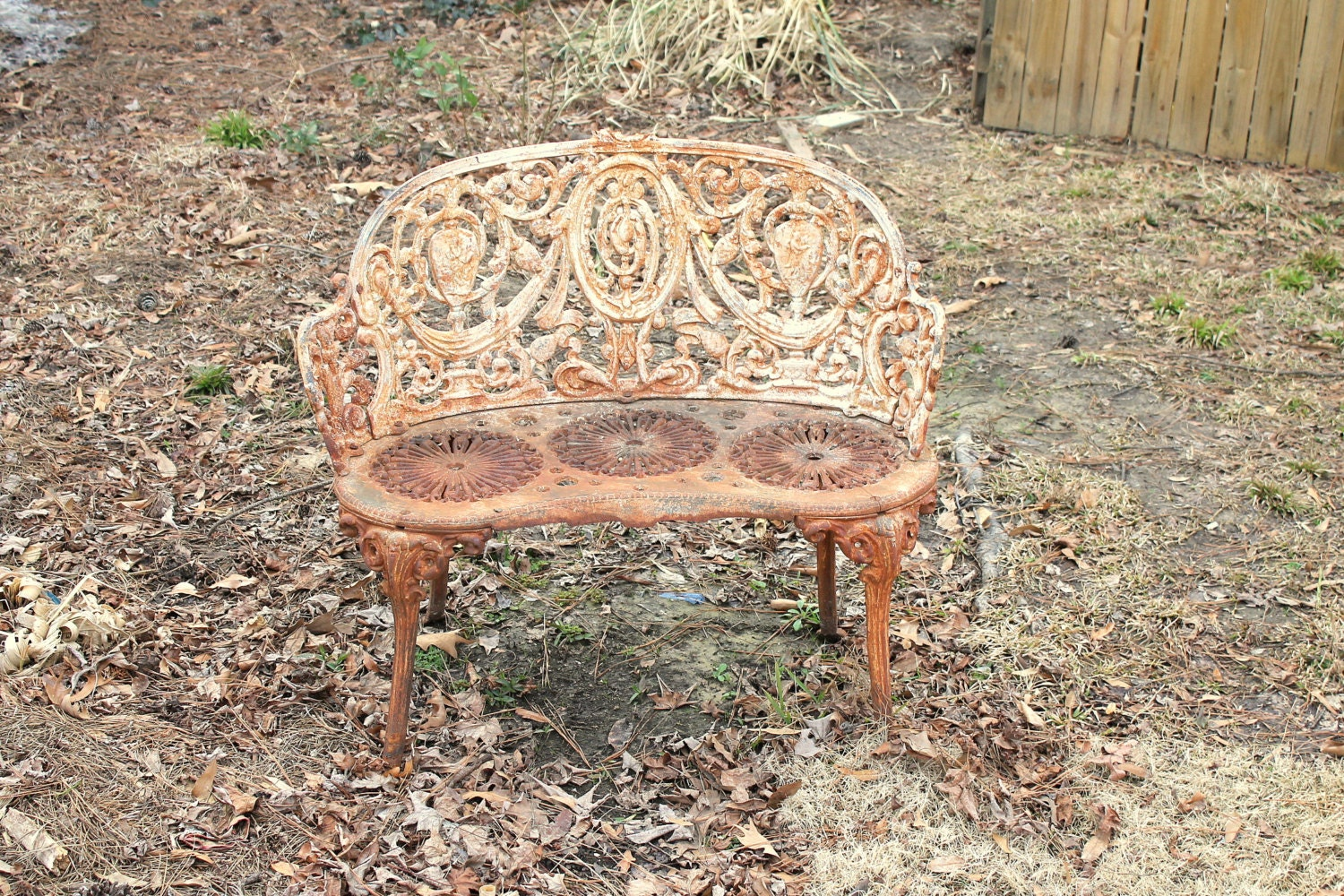 Garden Cast Iron Bench Vintage Victorian Style By Recycledsalvage