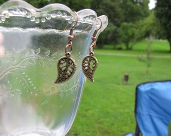 Bronze leaf charms on bronze earwires.