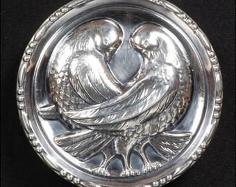 1930s Sterling Love Doves Brooch Pin