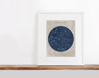 Summer Constellation Map Printable Art, 8x10 inches, Nursery Art, The Moon Art Print, Constellation Art, Watercolor Art Print