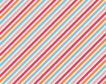 1 yard Riley Blake Zoe Pearn My Sunshine Stripe Blue designer cotton fabric by the yard RB010