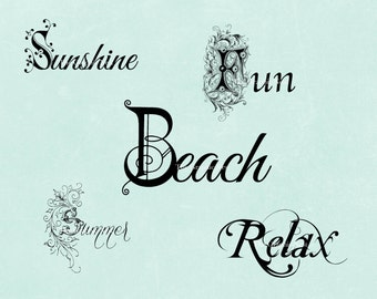 Beach word art. Digital download.