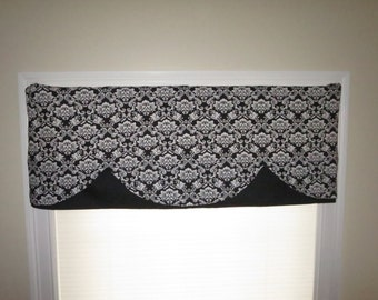 curtain window valance , home decor window,decorative valance, window curtain, scalloped style. black and white.