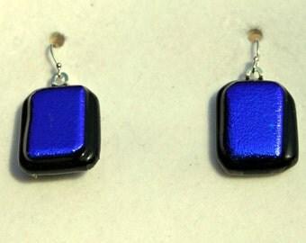 Electric cobalt blue dichroic glass earrings.  Item: B22