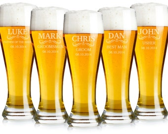 Groomsmen Gift, 11 Beer Glasses, Wedding Party Gifts, Personalized Beer Glass, Engraved Glasses, Beer Mug, Gifts for Groomsmen