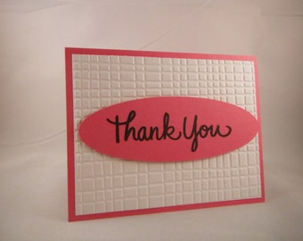 Pink and White Thank You Card