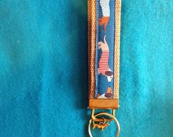 Wiener Dog ( Dachshund ) with small doxie charm Wristlet Key Fob Holder