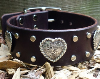 Dog Collar with Hearts, Wide Leather Dog Collar, Girl Dog Collar, Leather Heart Collar, Custom Made Leather Collar,Heart Collar,