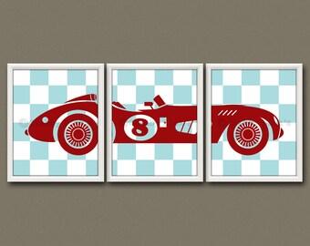 8x10 (3) NURSERY TRANSPORTATION PRINTS - Nursery Art, Nursery Decor, Children's Art - Vintage Race Car