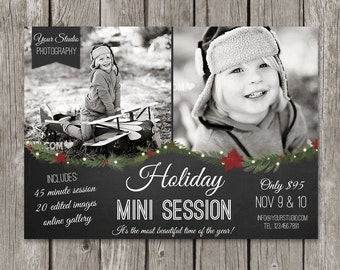 Christmas Mini Session Template - Holiday Marketing Board for Photographers - Winter Advertising Promo Card - MS16