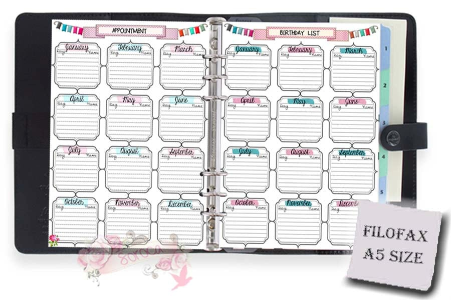 A5 Filofax printable birthday appointment list 2 insert pages