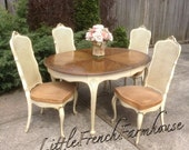 French Provincial Louis XV Dining room Set Drexel 2 leavesTouraine Beautiful Cane Chairs Elegant Vintage Can PAINT To ORDER Pick Your Color!