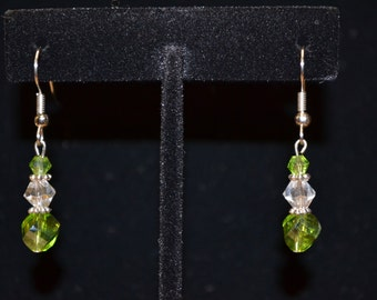 Silvertone Light Green AB and Clear AB Dangle Earrings