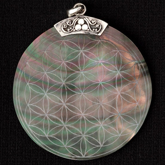 Flower Of Life Engraved Shell Pendant