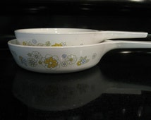 Set of Two Vintage Corning Ware Floral Pans