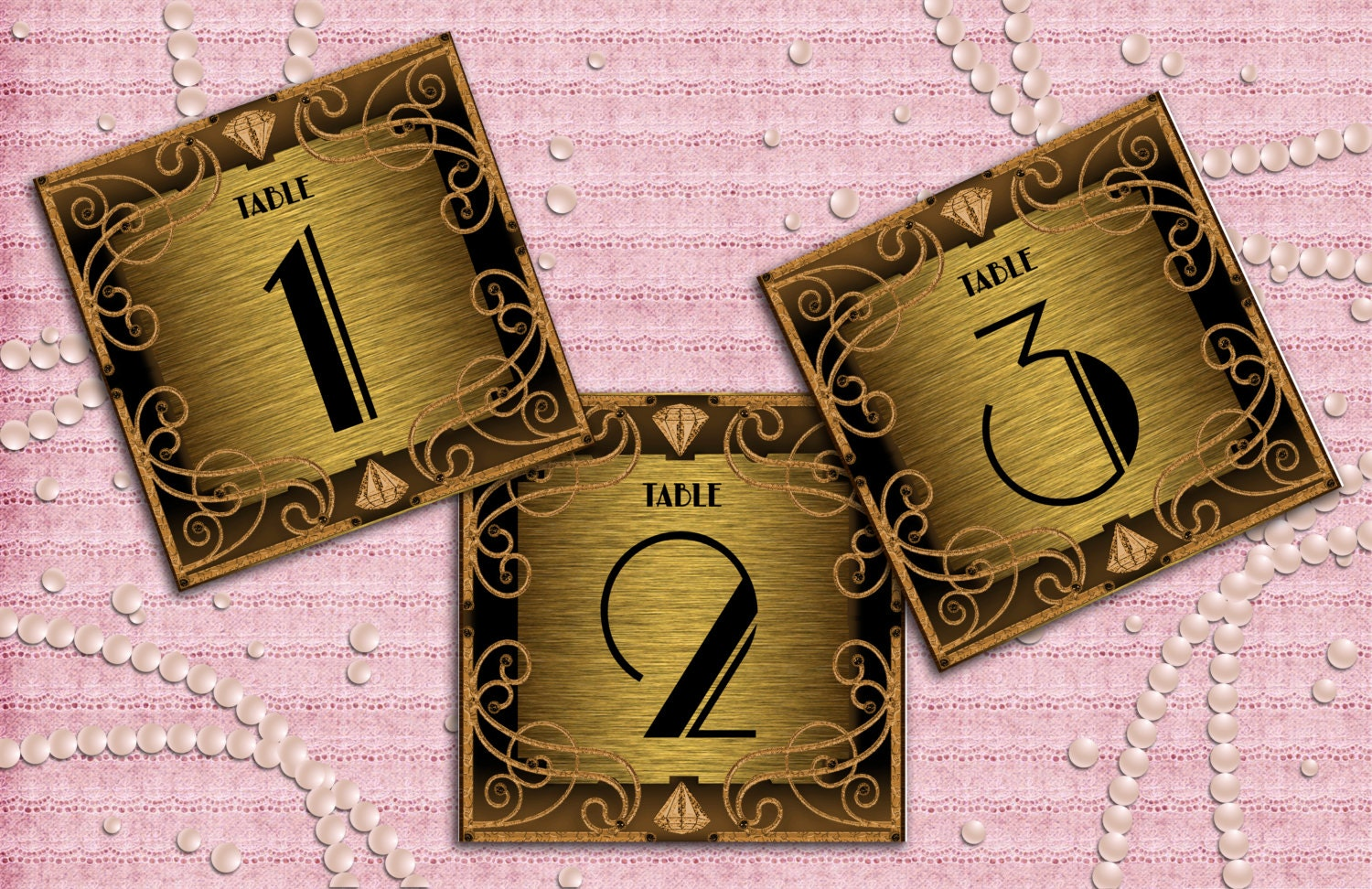 Great Gatsby Art Deco Table Cards 1 30 Table Numbers Table