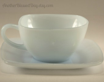 Vintage 1950s Anchor Hocking Charm Square Cup and Saucer