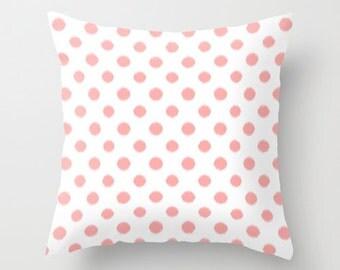 Pink Throw Pillow, Girls Bedroom Decor, Ikat Pillow, Pink Cushion Cover, Polka Dot Pillow, Tween Girls, Teen Bedding, Dorm Room, Pink Decor